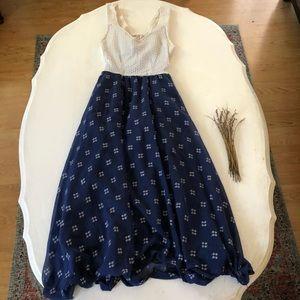 Vintage Handmade Floral Print Midi Dress